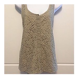 J Crew Taupe Lace Overlay Henley Tank